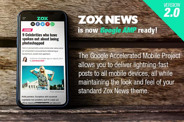 zox amp - Zox News - Professional WordPress News & Magazine Theme