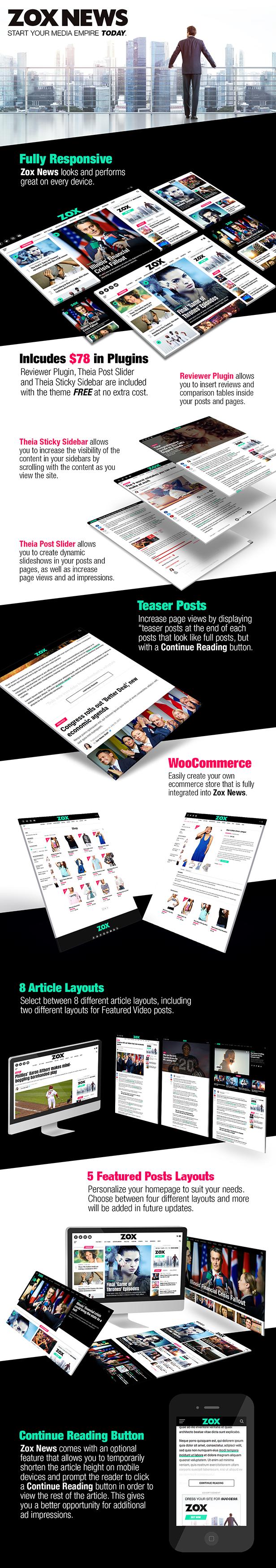 zox landing4 - Zox News - Professional WordPress News & Magazine Theme