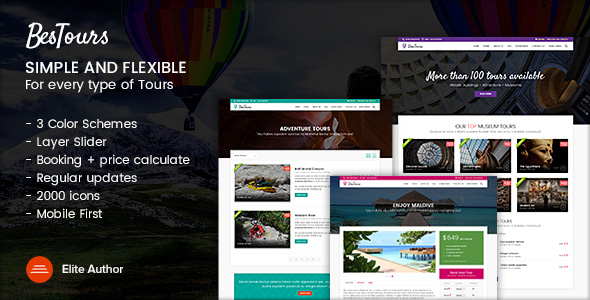01 bestours multipurpose tours template - CityTours - Travel and Hotels Site Template
