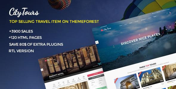 01 citytours travel tour template.  large preview - CityTours - Travel and Hotels Site Template