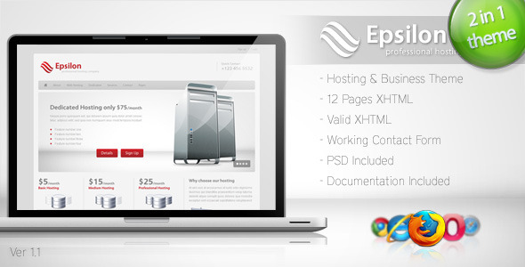 01 Epsilon preview.  large preview - Epsilon - Hosting and Business Template