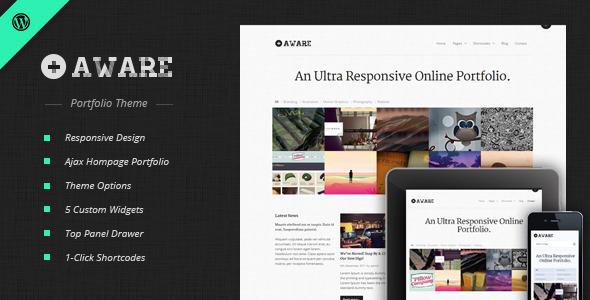 01 Preview Image.  large preview - Aware - Responsive Wordpress Portfolio Theme