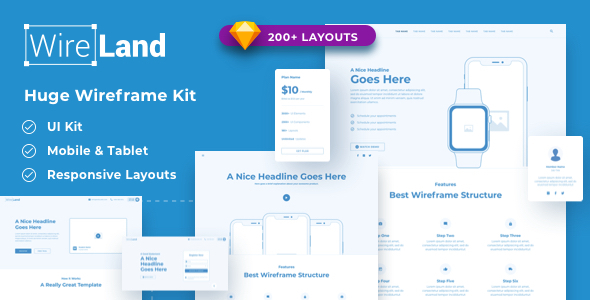 01 Theme Preview.  large preview - Wireland - Wireframe Library for Web Design Projects - Sketch Template