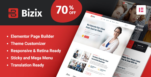 01 bizix preview.  large preview - Bizix - Corporate and Business WordPress Theme