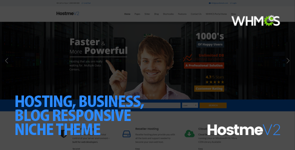 01 screen.  large preview - Hostme v2 Responsive WordPress Theme