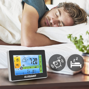 100353d8 effd 422f 8c91 1a9d1ecbe793.  CR0,0,300,300 PT0 SX300 V1    - ELEGIANT Wireless Weather Station, Indoor Outdoor Thermometer Hygrometer with Sensor, LCD Color Screen, Digital Temperature Humidity Monitor, Weather Forecast, Alarm Clock, Adjustable Brightness