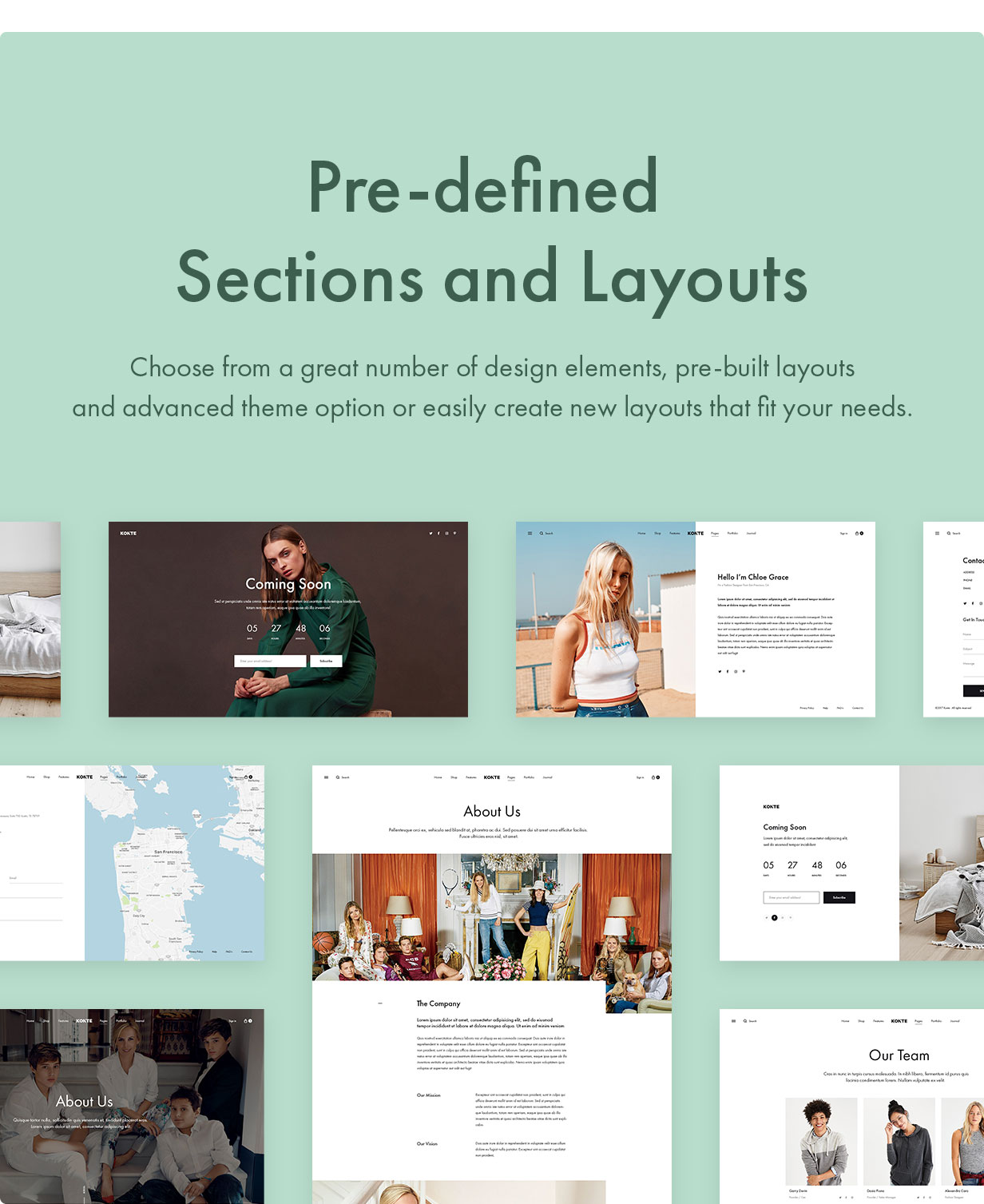 17 Pre defined Sections and Layouts - Konte - Minimal & Modern WooCommerce WordPress Theme