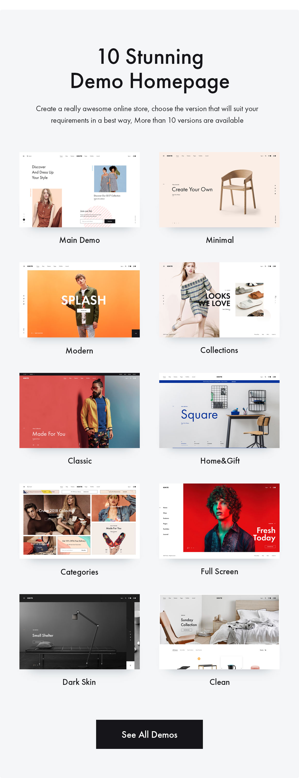 2 Demos - Konte - Minimal & Modern WooCommerce WordPress Theme