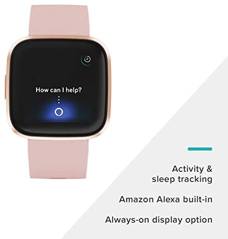 31HPgdqSNCL. AC  - Fitbit Versa 2 Health and Fitness Smartwatch with Heart Rate, Music, Alexa Built-In, Sleep and Swim Tracking, Petal/Copper Rose, One Size (S and L Bands Included)