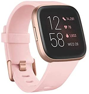 31Z2u1Hd6rL. AC  - Fitbit Versa 2 Health and Fitness Smartwatch with Heart Rate, Music, Alexa Built-In, Sleep and Swim Tracking, Petal/Copper Rose, One Size (S and L Bands Included)