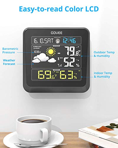 413ChNHzOPL - Govee Wireless Weather Station, Color LCD Display, Weather Forecast with Outdoor Sensor, Digital Temperature and Humidity Gauge with Alarm Clock, Moon Phase, Backlight, Snooze Mode