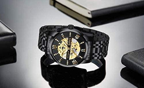414WXzeT1BL. AC  - Mens Watches Mechanical Automatic Self-Winding Stainless Steel Skeleton Luxury Waterproof Diamond Dial Wrist Watches for Men