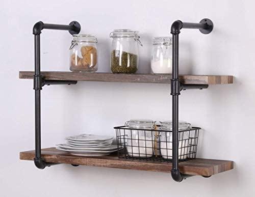 415fmOhaISL. AC  - Homissue 2-Shelf Rustic Pipe Shelving Unit, Vintage Industrial Pipe Wall Shelf, Retro Brown