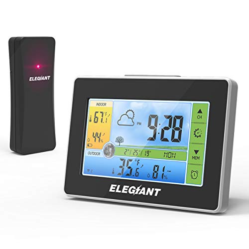 41Bc+loYp7L - ELEGIANT Wireless Weather Station, Indoor Outdoor Thermometer Hygrometer with Sensor, LCD Color Screen, Digital Temperature Humidity Monitor, Weather Forecast, Alarm Clock, Adjustable Brightness