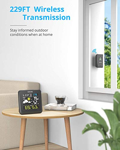 41CYv+NWVYL - Govee Wireless Weather Station, Color LCD Display, Weather Forecast with Outdoor Sensor, Digital Temperature and Humidity Gauge with Alarm Clock, Moon Phase, Backlight, Snooze Mode