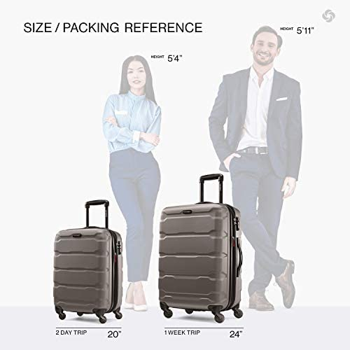41DS9CDQmcL. AC  - Samsonite Omni PC Hardside Expandable Luggage with Spinner Wheels, Silver, 2-Piece Set (20/24)