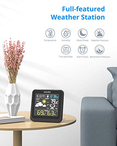 41H3ttFIcnL - Govee Wireless Weather Station, Color LCD Display, Weather Forecast with Outdoor Sensor, Digital Temperature and Humidity Gauge with Alarm Clock, Moon Phase, Backlight, Snooze Mode