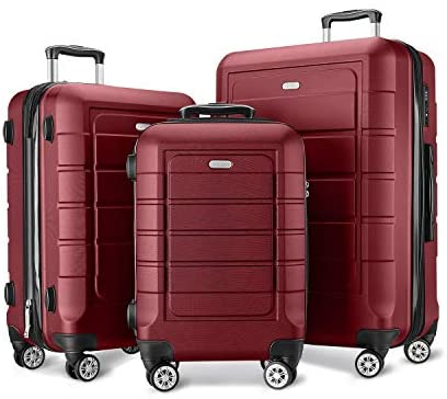 41LaTdFcEiL. AC  - SHOWKOO Luggage Sets Expandable PC+ABS Durable Suitcase Double Wheels TSA Lock Red Wine