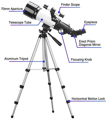 41OzoZIgMbL. AC  - Telescopes for Adults, 70mm Aperture 400mm AZ Mount, Telescope for Kids Beginners, Fully Multi-Coated Optics, Astronomy Refractor Telescope Portable Telescope with Tripod, Phone Adapter, Backpack