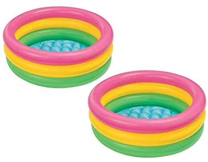 41Vpb4Jx8WL. AC  - Intex 2.8ft x 10in Sunset Glow Inflatable Colorful Baby Swimming Pool (2 pack)