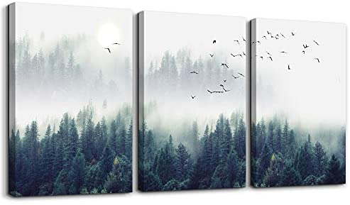 """41X3B7cmaFL. AC  - 3 Piece Canvas Wall Art for Living Room - Misty Forests of Evergreen Coniferous Trees in an Ethereal Landscape - Modern Home Decor Stretched and Framed Ready to Hang - 12""""x16""""x3 Panels wall decor"""