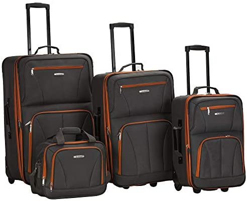 41cS3ES3oL. AC  - Rockland Journey Softside Upright Luggage Set, Charcoal, 4-Piece (14/19/24/28)