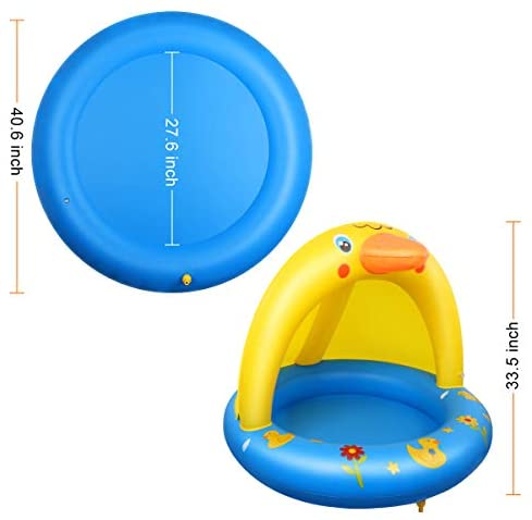 41dZehDCCPL. AC  - Inflatable Baby Pool, Kiddie Splash Duck Pool with Shade Sprinkler, Outdoor Water Toys Summer Kiddy Plastic Blow up Swimming Pool Outside Backyard for Kid Toddler Boy Girl Age 1-2 1-3 2-4 Year Old
