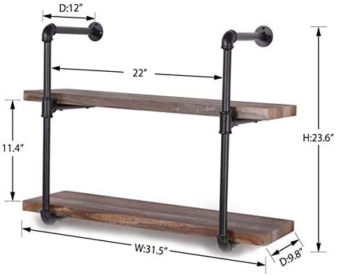 41f8eOzZVqL. AC  - Homissue 2-Shelf Rustic Pipe Shelving Unit, Vintage Industrial Pipe Wall Shelf, Retro Brown