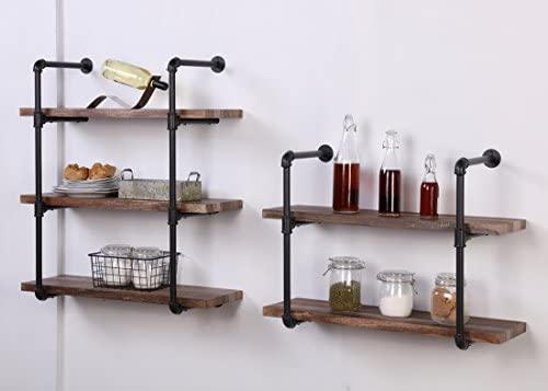 41hTc4OArXL. AC  - Homissue 2-Shelf Rustic Pipe Shelving Unit, Vintage Industrial Pipe Wall Shelf, Retro Brown