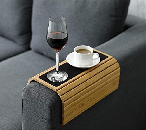 """41qEfZDtb+L. AC  - Sofa Arm Tray Table Slinky Secure/Flexible/Foldable Couch Tray Table with Non-Slip Mat for Drinks, Food, Phone or Remote. Sustainable Slinky Bamboo Design (16.5""""L x 13.25""""W x 0.4""""H, Natural Bamboo)"""