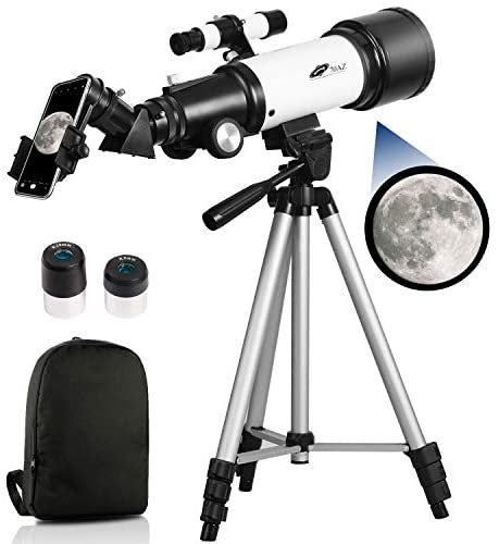 41rTCiPGnwL. AC  - Telescopes for Adults, 70mm Aperture 400mm AZ Mount, Telescope for Kids Beginners, Fully Multi-Coated Optics, Astronomy Refractor Telescope Portable Telescope with Tripod, Phone Adapter, Backpack