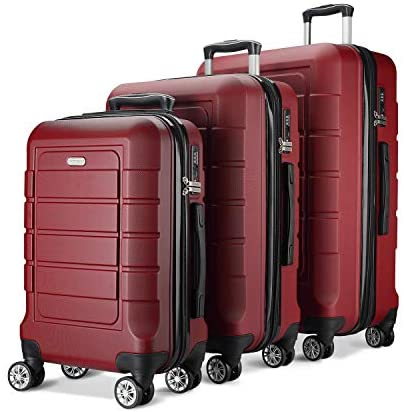 41rt1Ob5fpL. AC  - SHOWKOO Luggage Sets Expandable PC+ABS Durable Suitcase Double Wheels TSA Lock Red Wine