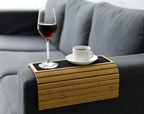 """41sLTG6oVPL. AC  - Sofa Arm Tray Table Slinky Secure/Flexible/Foldable Couch Tray Table with Non-Slip Mat for Drinks, Food, Phone or Remote. Sustainable Slinky Bamboo Design (16.5""""L x 13.25""""W x 0.4""""H, Natural Bamboo)"""