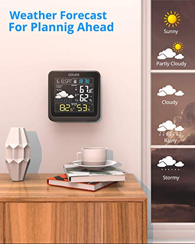41uV3aR9brL - Govee Wireless Weather Station, Color LCD Display, Weather Forecast with Outdoor Sensor, Digital Temperature and Humidity Gauge with Alarm Clock, Moon Phase, Backlight, Snooze Mode