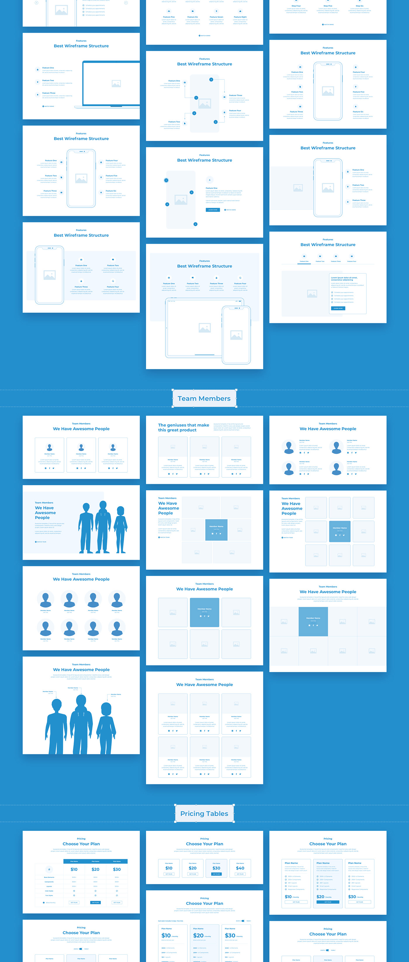 440abb57728315.5f82276d394ad - Wireland - Wireframe Library for Web Design Projects - Sketch Template