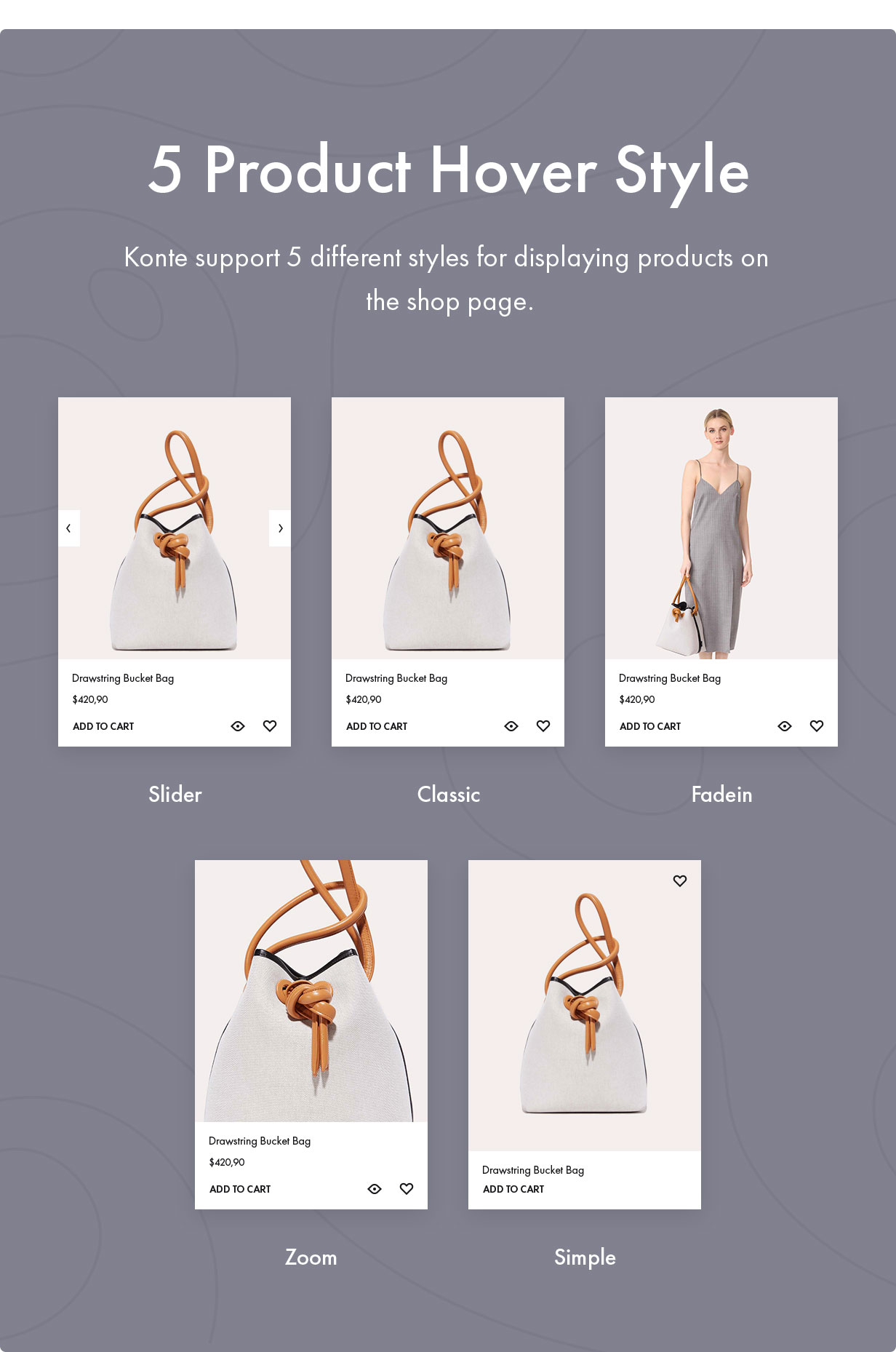 5 Product Hover Style - Konte - Minimal & Modern WooCommerce WordPress Theme