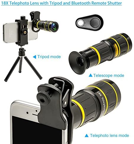 51+RjyyvYeL. AC  - Godefa Cell Phone Camera Lens with Tripod+ Shutter Remote,6 in 1 18x Telephoto Zoom Lens/Wide Angle/Macro/Fisheye/Kaleidoscope/CPL, Clip-On lense Compatible for iPhone X 8 7 6s Plus, Samsung and More