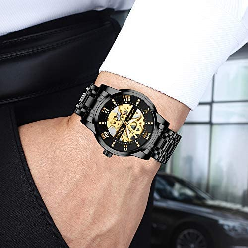 51+sNa0Hc2L. AC  - Mens Watches Mechanical Automatic Self-Winding Stainless Steel Skeleton Luxury Waterproof Diamond Dial Wrist Watches for Men