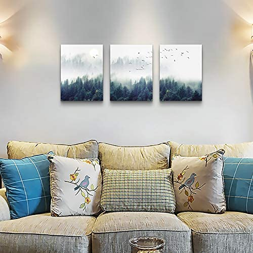 """5109AXGwHjL. AC  - 3 Piece Canvas Wall Art for Living Room - Misty Forests of Evergreen Coniferous Trees in an Ethereal Landscape - Modern Home Decor Stretched and Framed Ready to Hang - 12""""x16""""x3 Panels wall decor"""