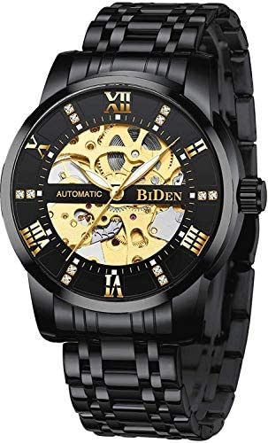 511fGTUNeZL. AC  - Mens Watches Mechanical Automatic Self-Winding Stainless Steel Skeleton Luxury Waterproof Diamond Dial Wrist Watches for Men