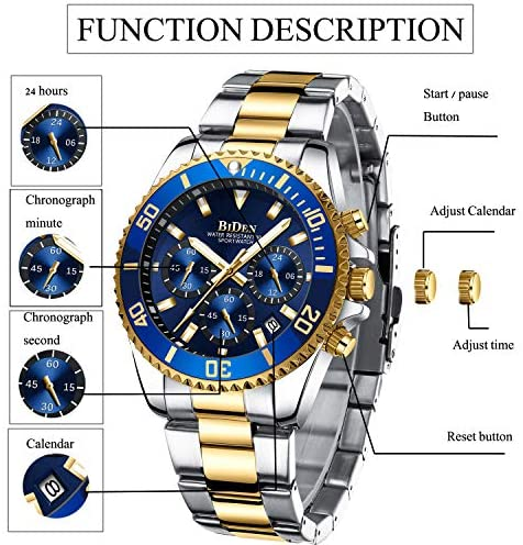 512kjlxWTjL. AC  - Mens Watches Chronograph Stainless Steel Waterproof Date Analog Quartz Fashion Business Wrist Watches for Men