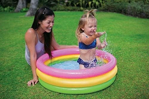 519Ra  l+RL. AC  - Intex 2.8ft x 10in Sunset Glow Inflatable Colorful Baby Swimming Pool (2 pack)