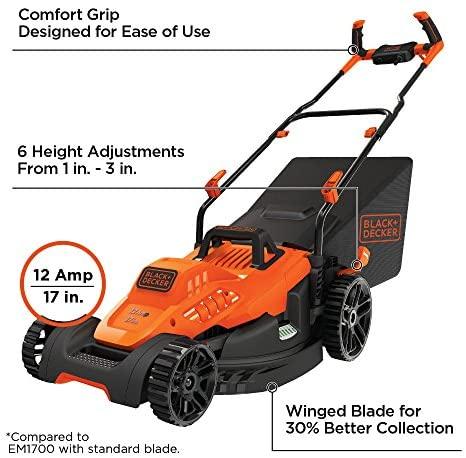51ByaSp0hWL. AC  - BLACK+DECKER BEMW482BH Electric Lawn Mower
