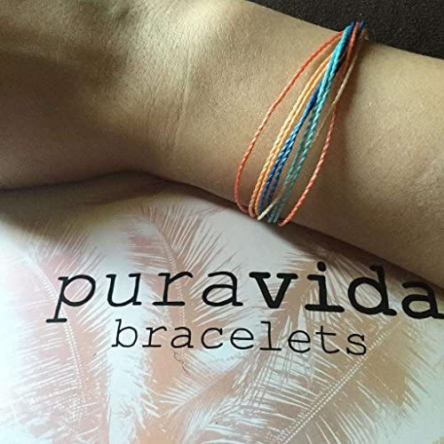 51C3VHFxxSL. AC  - Pura Vida Jewelry Bracelets Bright Bracelet - 100% Waterproof and Handmade w/Coated Charm, Adjustable Band
