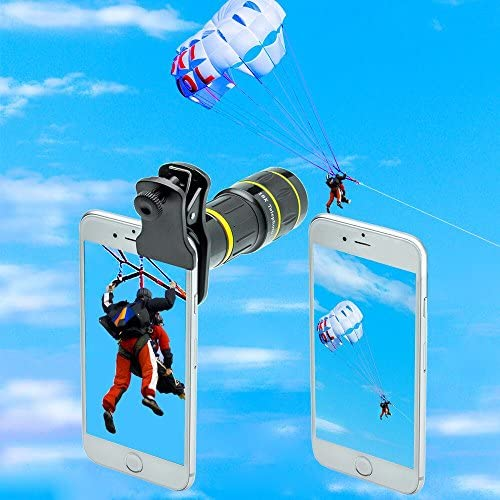 51FxPUMs+DL. AC  - Godefa Cell Phone Camera Lens with Tripod+ Shutter Remote,6 in 1 18x Telephoto Zoom Lens/Wide Angle/Macro/Fisheye/Kaleidoscope/CPL, Clip-On lense Compatible for iPhone X 8 7 6s Plus, Samsung and More