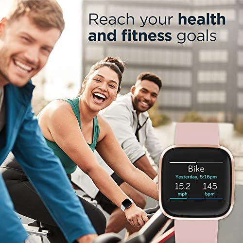 51RoWbo4u6L. AC  - Fitbit Versa 2 Health and Fitness Smartwatch with Heart Rate, Music, Alexa Built-In, Sleep and Swim Tracking, Petal/Copper Rose, One Size (S and L Bands Included)