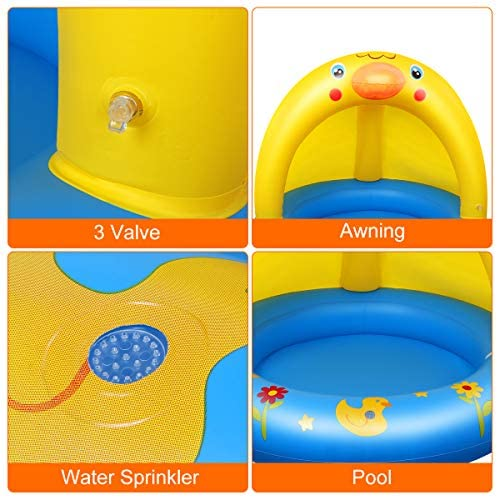 51S8D1gngML. AC  - Inflatable Baby Pool, Kiddie Splash Duck Pool with Shade Sprinkler, Outdoor Water Toys Summer Kiddy Plastic Blow up Swimming Pool Outside Backyard for Kid Toddler Boy Girl Age 1-2 1-3 2-4 Year Old