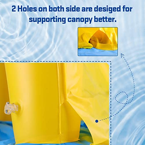 51SIXTTcguL. AC  - Inflatable Baby Pool, Kiddie Splash Duck Pool with Shade Sprinkler, Outdoor Water Toys Summer Kiddy Plastic Blow up Swimming Pool Outside Backyard for Kid Toddler Boy Girl Age 1-2 1-3 2-4 Year Old