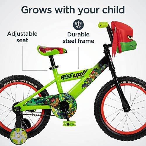 51Sur7TtjbL. AC  - Teenage Mutant Ninja Turtles Boys Bicycle, 16-Inch Wheels, Green