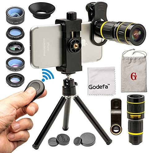 51TPu2UIGEL. AC  - Godefa Cell Phone Camera Lens with Tripod+ Shutter Remote,6 in 1 18x Telephoto Zoom Lens/Wide Angle/Macro/Fisheye/Kaleidoscope/CPL, Clip-On lense Compatible for iPhone X 8 7 6s Plus, Samsung and More